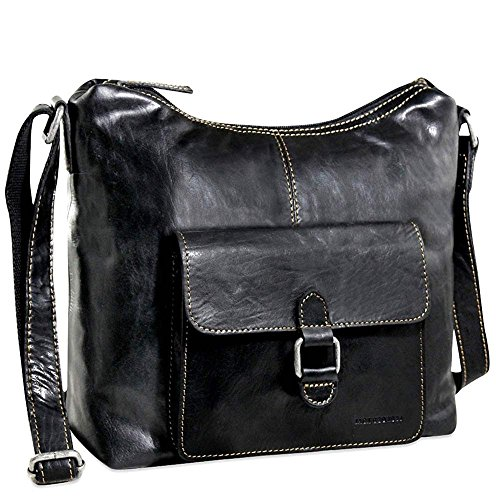 Jack Georges Voyager Hobo Bag with Front Pocket (Black) (Bag Leather Georges Jack)