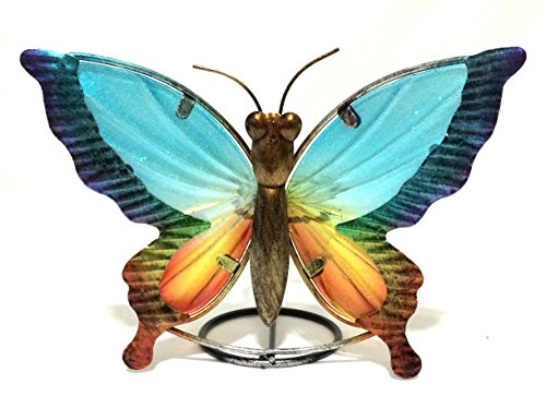 Beautiful Butterfly w/ Stain Glass Candle Holder & Home Decor w/ Gift Box (Butterfly Candle)