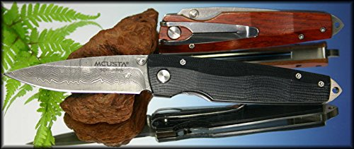 Mcusta Knives 52D Damascus Gentlemen's Folder Linerlock Knife with Black Micarta Handles