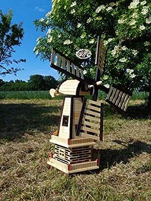xxxos Molino de viento zweistöckig con 2 x Balcón, wmb100at para jardín, 1,30 m grande Windmühlen con/sin iluminación solar Madera, Pieza de madera maciza, madera maciza, madera maciza,: Amazon.es: Productos para mascotas