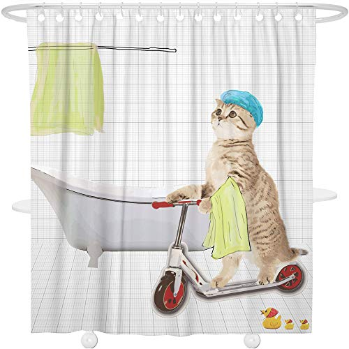 Bonsai Tree Animal Shower Curtain Funny Bathroom Decoration Decor Waterproof Polyester Cat Bath Curtain with Hooks,72x72 ()
