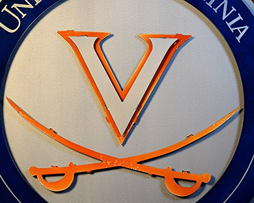 Gear New University of Virginia Crest 3D Vintage Metal College Man Cave Art, Large, Orange/White/Blue by Gear New (Image #4)