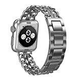 ImmSss Apple Watch Band - Solid Stainless Steel Cowboy Chain Style Replacement Strap for Apple Watch Series 1 - Series 2 (Silver - 38MM)
