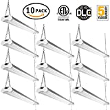 Linkable LED Utility Shop Light 4ft 4800 Lumens Super Bright 40W 5000K Daylight ETL Certified LED Garage Lights Durable LED Fixture with Pull Chain Mounting and Daisy Chain Hardware Included 10 Pack