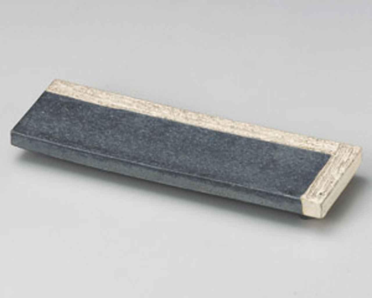Yohen Kakewake 23.6cm Satz von 5 Sushiteller Black Ceramic Japanisch traditionell