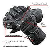 POLARIS Leather Touring Gloves for Men with Reinforced Heel and Hard Knuckle Protectors