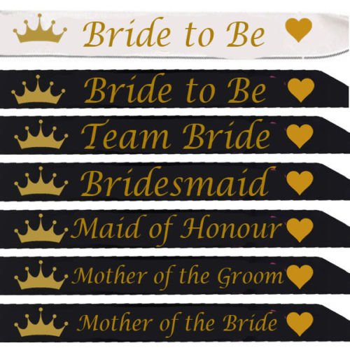 *Black Sash with Gold Writing* All Designs Team Bride (Bride to Be Black) Blue Planet