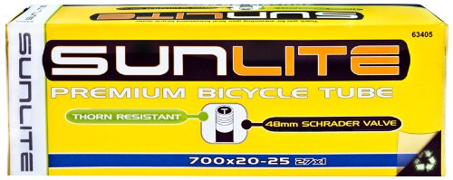 Sunlite Thorn Resistant Schrader Valve Tube, 700 x 20-25 (27 x 1'') / 48mm, Black by Sunlite