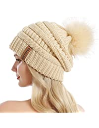 74bc02e0262 Women Knit Slouchy Beanie Chunky Baggy Hat with Faux Fur Pompom Winter Soft  Warm Ski Cap