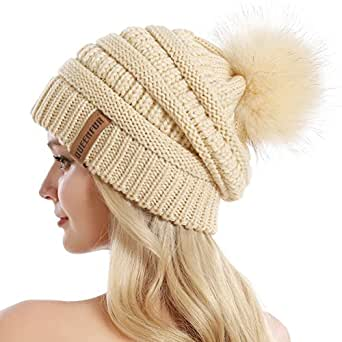 QUEENFUR Women Knit Slouchy Beanie Chunky Baggy Hat with Faux Fur Pompom Winter Soft Warm Ski Cap Beige