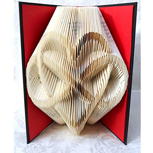Hand Folded Book Art Sculpture, Heart & Infinity Sign, Wedding Paper Anniversary Valentines Day Gift