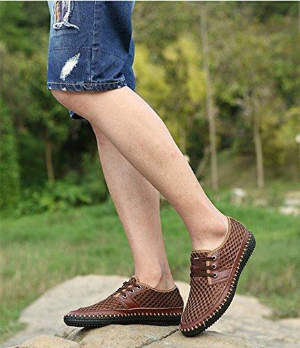 mesh morbido traspirante estive da uomo on pelle in uomo vera scarpe Bebete5858 Marrone slip moda marchio estate confortevole scarpe casual scarpe AgU5w