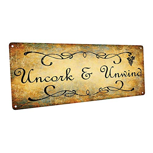 Uncork and Unwind Metal Sign, Bar Decor, Country Decor, Kitchen Decor (Bar Sign Wine)