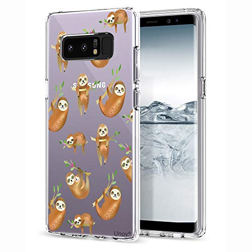 Samsung Galaxy Note 8 Case, Unov Clear with Design Soft TPU Shock Absorption Slim Embossed Pattern Protective Back Cover forNote 8 (Hanging Sloth)
