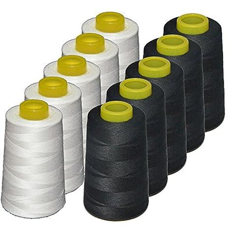 10 conos de hilo de poliester, especiales para máquinas de coser y remalladoras (5