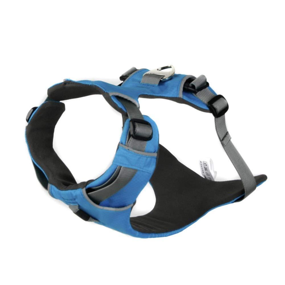 bluee M(45-60cm) bluee M(45-60cm) Dog Vest Harness, Chest Strap Outdoor Training Leash golden Retriever Leash Comfortable Pet Teddy Cat Supplies Safety Buffer Vest (color   bluee, Size   M(45-60cm))