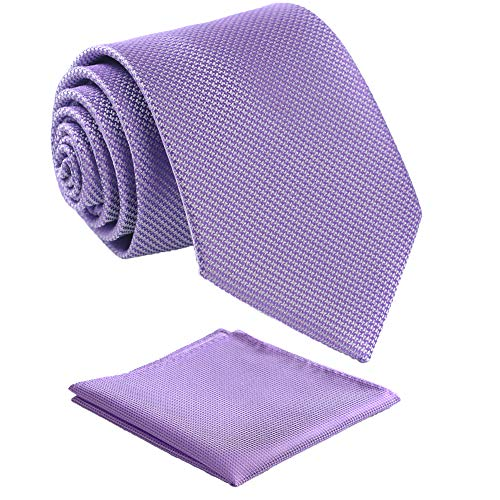 Fortunatever Mens Solid Neckties,Lavender Ties For Men With Pocket Square+Gift Box,58