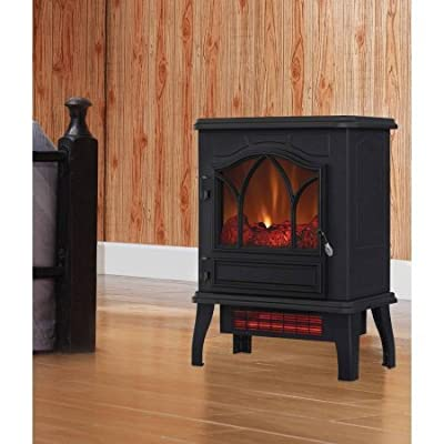 Electric Infrared Quartz Stove Heater, 5,200 BTU with black metal body