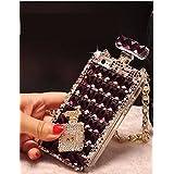 Phone Case, KAGU CULTURE Perfume Bottles Diamond Phone Case Cover with Chain