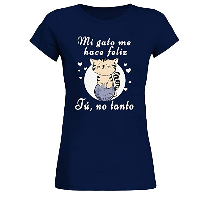 TEEZILY Mi Gato me Hace Feliz Camiseta Mujer: Amazon.es: Ropa y accesorios