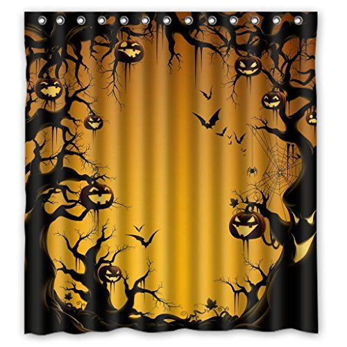 ZHANZZK Halloween Pumkin Fabric Bathroom Shower Curtain 66 x 72 Inches -
