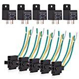 Ehdis® Car Truck Relay Socket Harness kit 4 Pin 4 Pre-wired 12V 40 Amp SPST Bosch Style, Automotive Auto Switches & Starters Set, Pack of 5