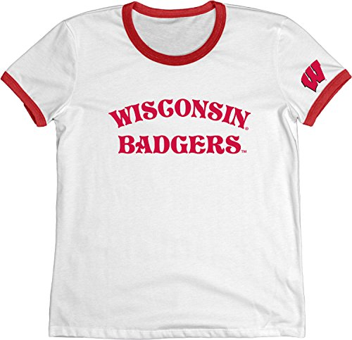 NCAA Wisconsin Badgers Adult Women NCAA Women's Vintage Supima Ringer Tee,Large,Red
