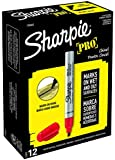 Sharpie 1794225 Pro Chisel Tip Industrial Strength Permanent Marker, Red, 12-Pack