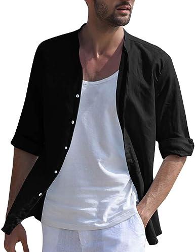 Leedy - Camisas de Media Lino para Hombre, de Manga Larga, Cuello Alto Negro XXL: Amazon.es: Ropa y accesorios