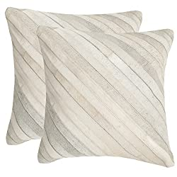 Safavieh Pillow Collection Throw Pillows, 18 by 18-Inch, Cherilyn White, Set of 2