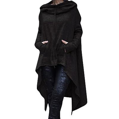 ZYAP Women Casual Pockets Long Hoodies Loose Solid Color Pullover Hoodie Irregular Hem Sweatshirts Dress at Women's Clothing store