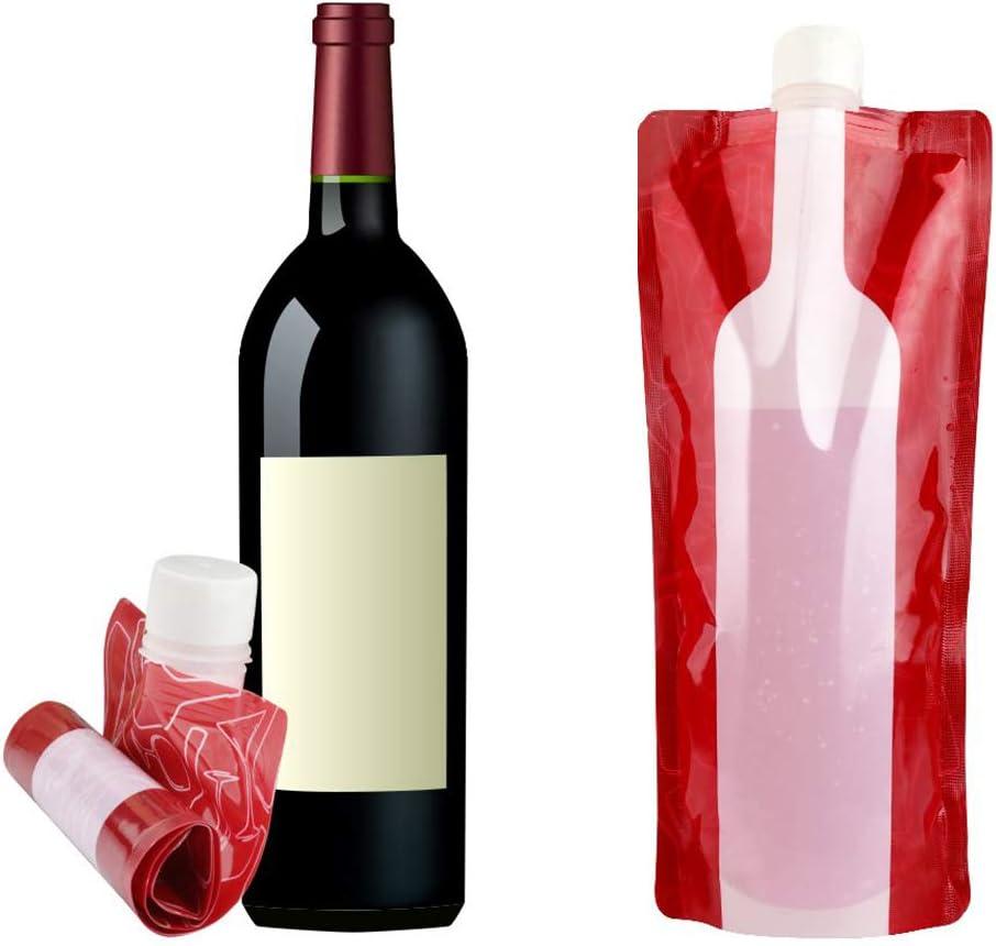 JUSTDOLIFE 25.4oz Bolsa De Vino Plegable A Prueba De Fugas Botella De Vino Reutilizable Port/átil