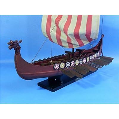 Hampton Nautical Wooden Viking Drakkar Model Boat, 24