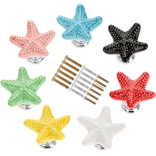 Corasays Mixed Colors Starfish Shape Drawer Cupboard Pulls Handles Wardrobe Drawer Cabinet Door Kitchen Knobs and Handles, Pack of 7 (Mixed colors)
