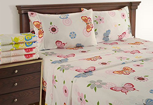 TwinXL - Cute New Year Bedding Set by Linenwalas - Super Soft 300 Thread Count Sheets - Deep Pocket Sheet Set Twin XL - Pink Grey Butterfly (Kids Toddler Sheet Set)