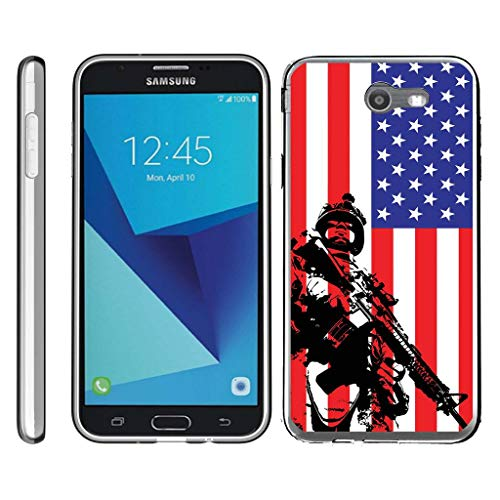 TurtleArmor | Compatible for Samsung Galaxy J7 2017 Case | J7 Prime | J7 Sky Pro [Flexible Armor] Slim Fitted Flexible TPU Case Bumper Skin Cover Military War Army Camo - American Soldier