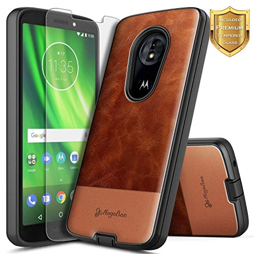 Motorola Moto E5 Case (XT1920DL) w/[Tempered Glass Screen Protector] NageBee Premium Cowhide Leather Shockproof Rugged Durable Case for (Tracfone, Simple Mobile, Straight Talk, Total Wireless) -Brown