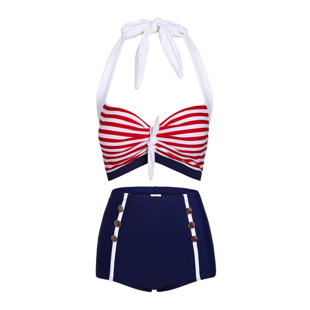 Costumi da Bagno Bikini a Vita Alta con Ruches Vintage per Donna