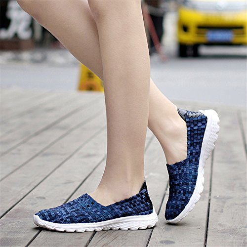 Blue SEVENWELL Lightweight Wedge Colorful Casual Summer Shoes Breathable Women Woven Flats Sandal Sneakers Dark qAqBO