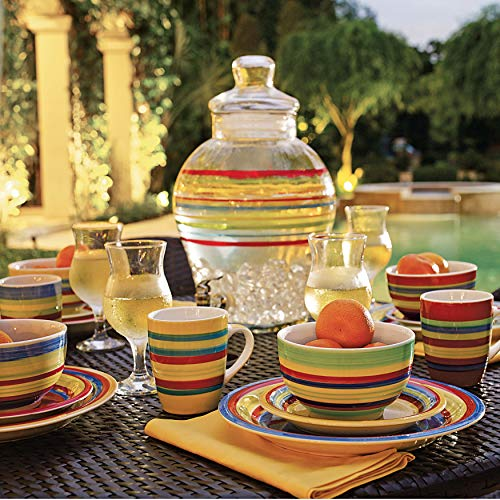- Brylanehome Santa Fe Hand-Painted Striped Stoneware Dinnerware (Multi Stripe) - Multi Stripe