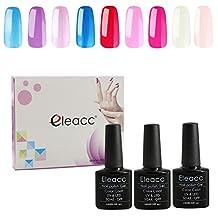 Eleacc Pick any 3 colors 10ml Soak Off Uv LED Color Gel Nail Polish Gelpolish Nail Art Base Foundation Base Top Coat