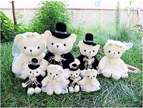 Lovely Sweet couple bear wedding teddy bear Plush Toys Wholesale Wedding Gift one Pair (Men - 22cm (8.7 inch), Girl - 20cm (7.9 inch)) for $<!--$39.99-->