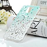 S5 Case,Samsung Galaxy S5 G900 Case - Mavis's Diary 3D Handmade Bling Crystal Shiny Rhinestone Diamonds Special Hollow Floral Gradient Pattern Hard PC Cover Clear Case with Flower Dust Plug & Stylus