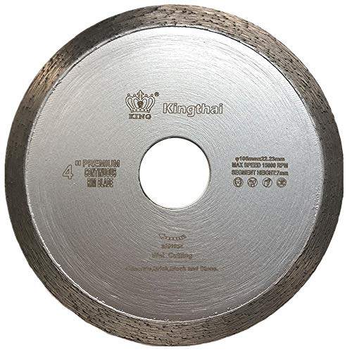 Kingthai 4 Inch Tile Continuous Rim Diamond Saw Blade for Cutting Ceramic Porcelain,Wet Cutting, 7/8