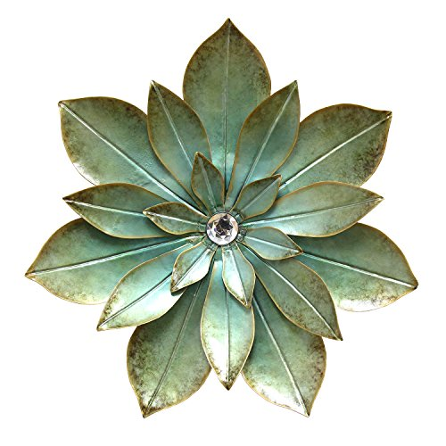 Stratton Home Decor S07659 Embellished Flower Wall Decor, Seafoam Green (Seafoam Green Wall Decor)