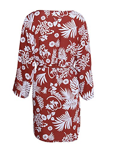 shermie Women's Floral Leaf Print Kimono Cardigan Cover up Swimwear with Belt Rust Red by shermie (Image #5)