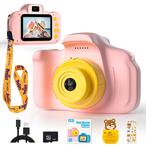 Peradix Kids Digital Camera, Rechargeable Children Digital Camera Video Camcorder Toys Gifts for 3-10 Years Old Boys Girls Kids for Outdoor Play (32GB Card Included)-Pink