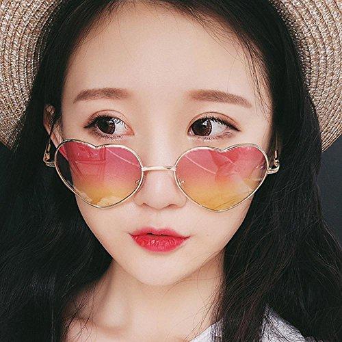 Aolvo de sol 400 la fiestas de premium de playa Gafas cotidiana para gafas para ligeras corazón compras blue vacaciones diseño UV 5 sol de vida degradado marco color Color Diffferent mujer metal Pink rwZwq