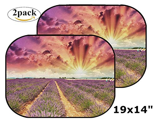 MSD Car Sun Shade Side Window Sunshade Auto 19 x 14 Universal Fit 2 Pack, Block Sun Glare, UV and Heat, Protect Car Interior, Image ID: 31324373 Lavender Meadows in Summer Provence France ()