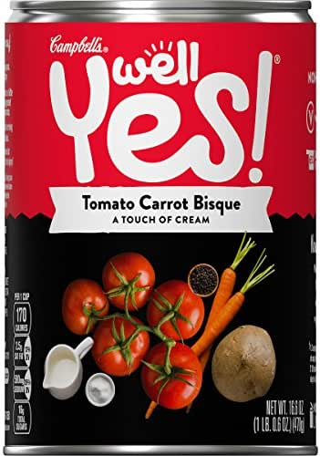 Campbell's Well Yes! Tomato Carrot Bisque, 16.6 oz. Can (Pack of 12)